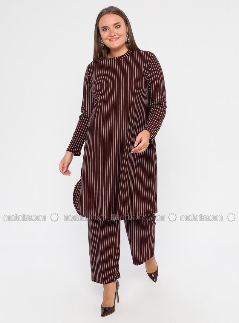 Maroon - Stripe - Crew neck - Unlined - Plus Size Suit
