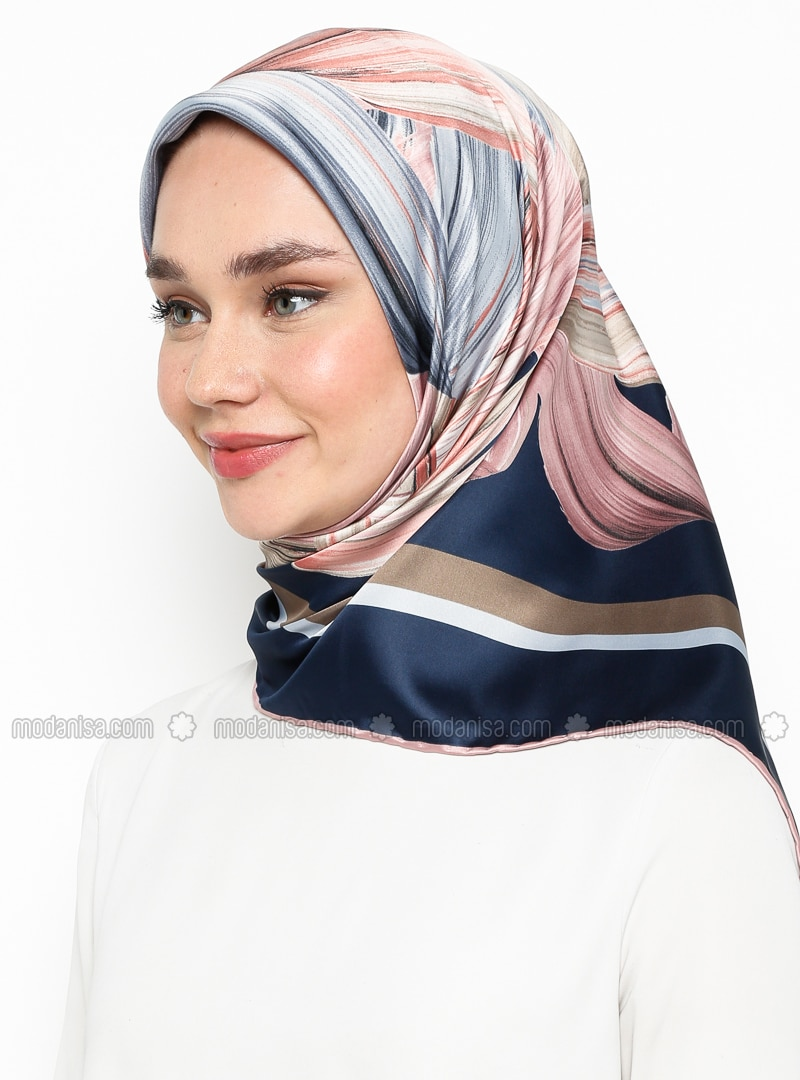 Dusty Rose - Navy Blue - Printed - Rayon - Scarf