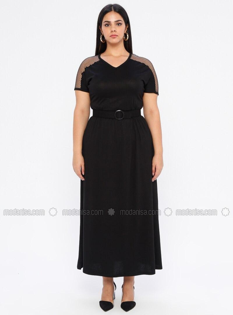 Black - Unlined - Crew neck - Viscose - Plus Size Dress