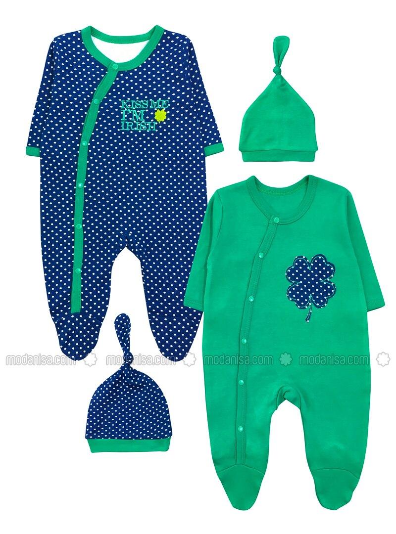 Polka Dot - Crew neck -  - Navy Blue - Green - Overall