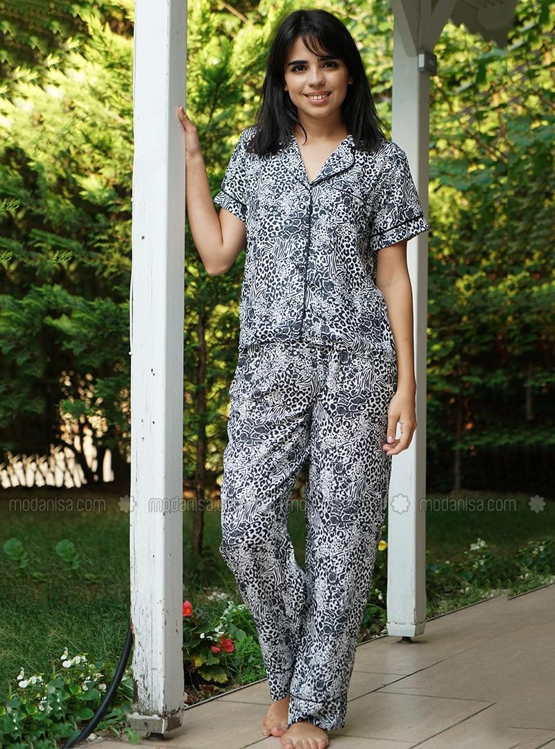 Black - Shawl Collar - Leopard - Pyjama