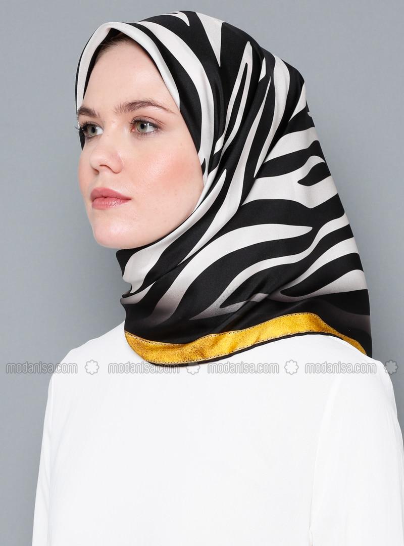 White - Black - Printed - Digital Printing - %100 Silk - Scarf
