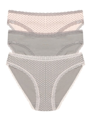 Gray - Pink -  - Panties - ŞAHİNLER