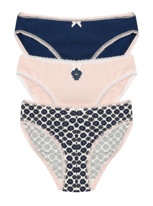 Ecru - Navy Blue - Powder -  - Panties - ŞAHİNLER