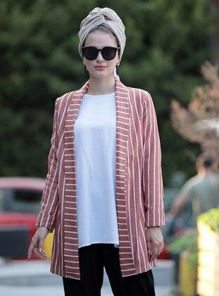 Terra Cotta - Stripe - Unlined - Shawl Collar - Linen - Jacket