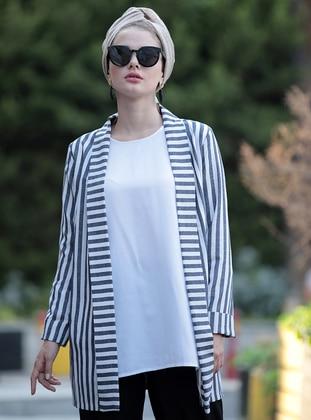 Navy Blue - Stripe - Unlined - Shawl Collar - Linen - Jacket - Selma Sarı Design
