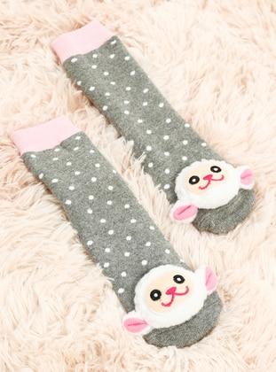 Polka Dot - Gray - Pink - Socks