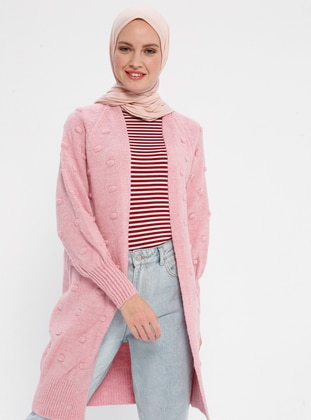 Pink - Shawl Collar - Acrylic -  - Cardigan