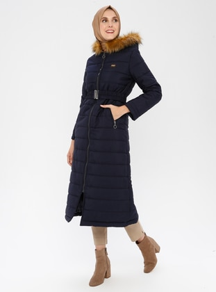 Navy Blue - Fully Lined - Coat - Miss Cazibe