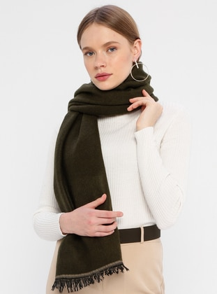 Acrylic - Khaki - Mink - Two-way - Plain - Shawl Wrap