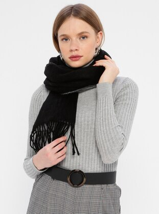 Acrylic - Gray - Black - Two-way - Plain - Shawl Wrap