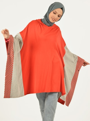 Red - Multi - Unlined -  - Poncho