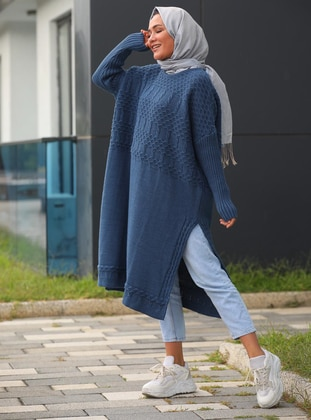 Blue - Crew neck - Unlined - Acrylic - Poncho
