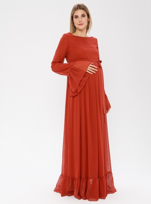Terra Cotta - Crew neck - Fully Lined - Maternity Dress - Moda Labio