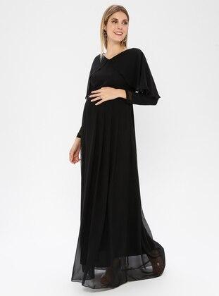 Black - Black - Crew neck - Fully Lined - Maternity Dress - Moda Labio