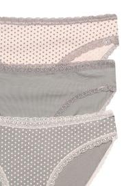 Gray - Pink -  - Panties