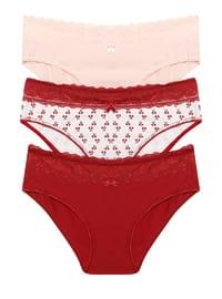 White - Maroon - Powder -  - Panties