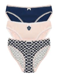 Ecru - Navy Blue - Powder -  - Panties