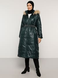 Green - Fully Lined - Polo neck - Coat