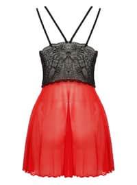Red - V neck Collar - Nightdress