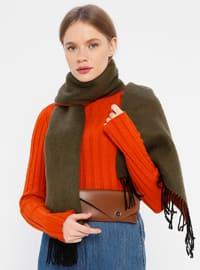 Acrylic - Khaki - Terra Cotta - Two-way - Plain - Shawl Wrap