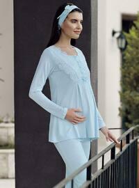 Blue - Crew neck - - Pyjama