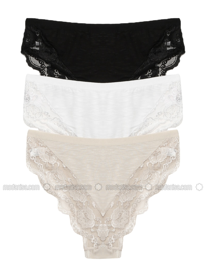 Beige - White - Black -  - Panties