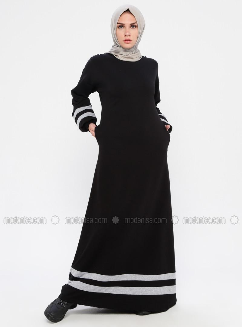 Black - Stripe - Crew neck - Unlined - Dress