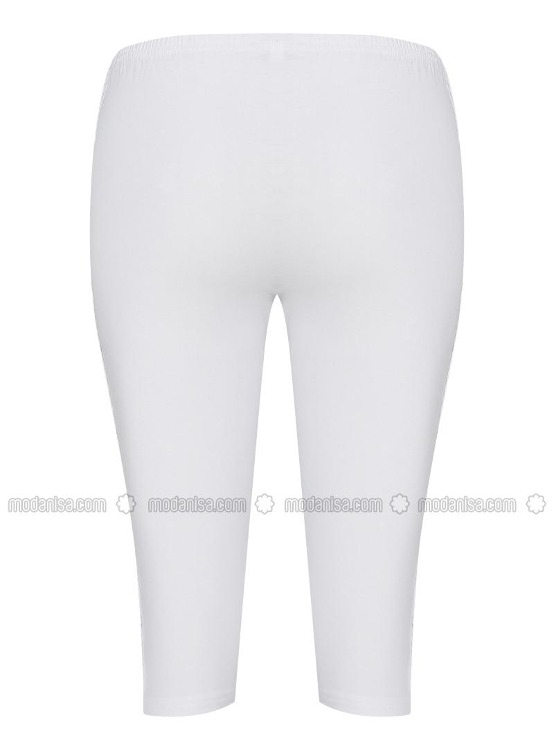 Putih Kapas Celana Legging