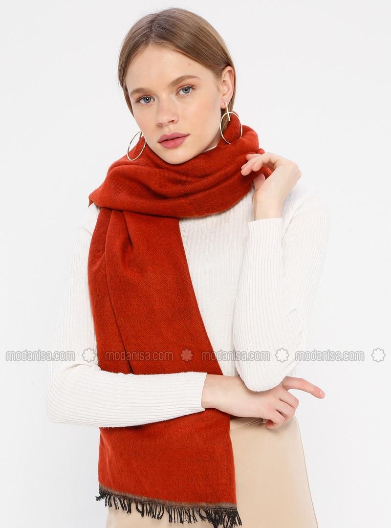 Acrylic - Terra Cotta - Mink - Two-way - Plain - Shawl Wrap