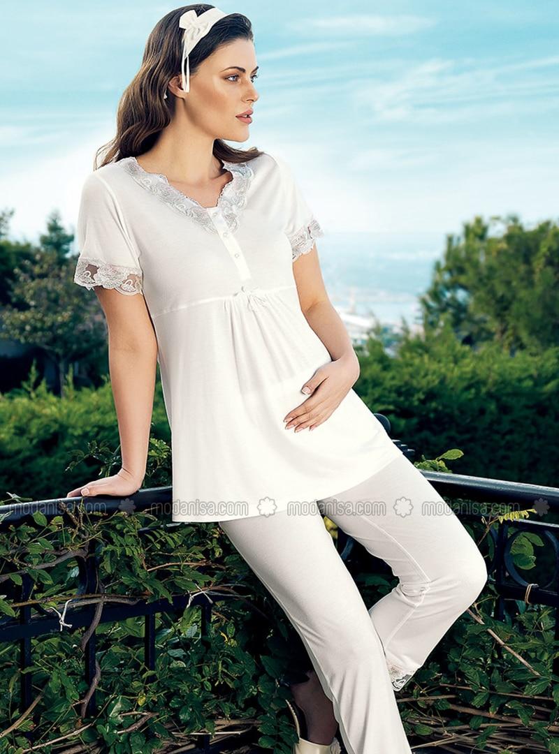 White - Crew neck - - Pyjama