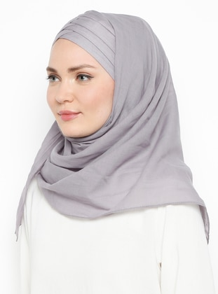Gray - Plain - Cotton - Instant Scarf