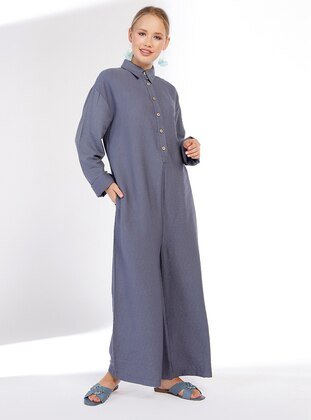 Indigo - Unlined - Point Collar - Viscose - Jumpsuit