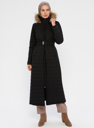 Black - Unlined - Polo neck - Coat - ECESUN