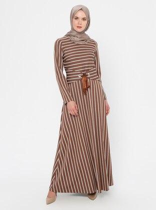 Cinnamon - Stripe - Crew neck - Unlined - Dress