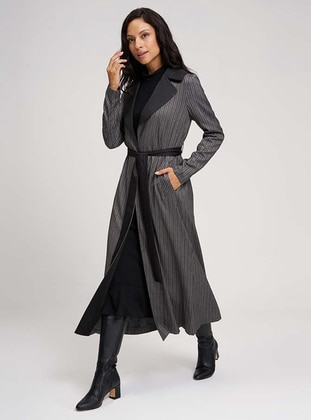 Gray - Stripe - Unlined - Shawl Collar - Viscose - Trench Coat