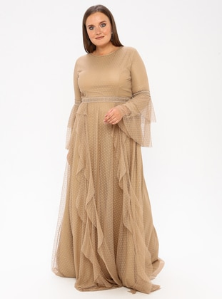 Mink - Fully Lined - Crew neck - Muslim Plus Size Evening Dress