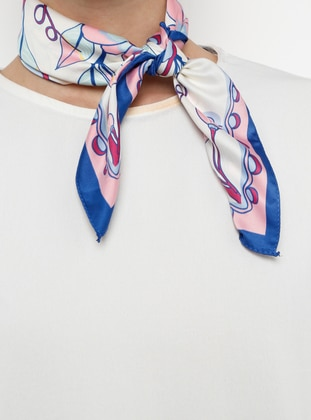 White - Blue - Printed - Shawl