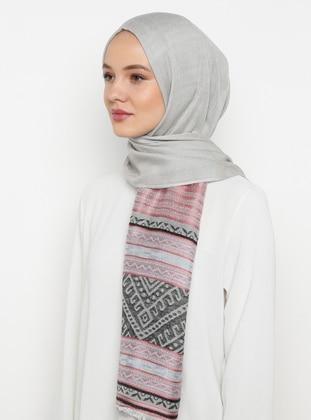 Gray - Printed - Shawl