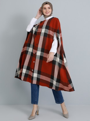 Red - Plaid - Crew neck - Unlined - Acrylic - Poncho - Tavin