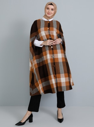 Mustard - Plaid - Crew neck - Unlined - Acrylic - Poncho - Tavin