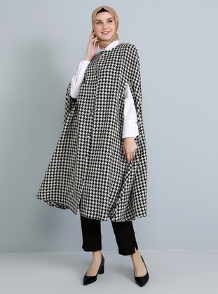 Black - Houndstooth - Crew neck - Unlined - Acrylic - Poncho - Tavin