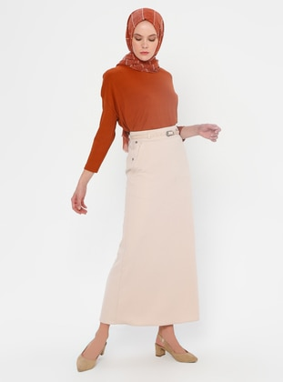 Beige - Fully Lined - Viscose - Skirt