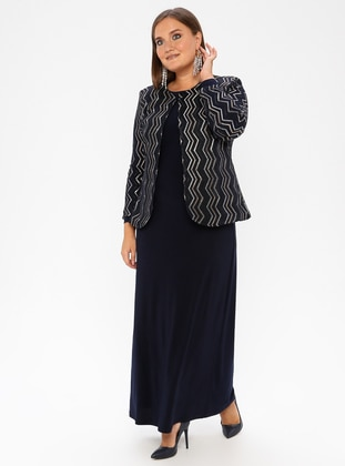 Navy Blue - Stripe - Crew neck - Unlined - Plus Size Evening Suit