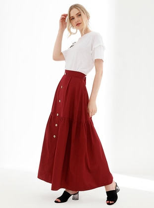Maroon - Fully Lined - Viscose - Skirt