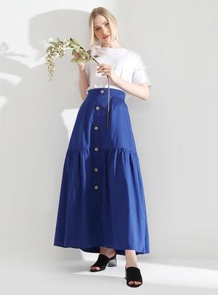Navy Blue - Fully Lined - Viscose - Dress