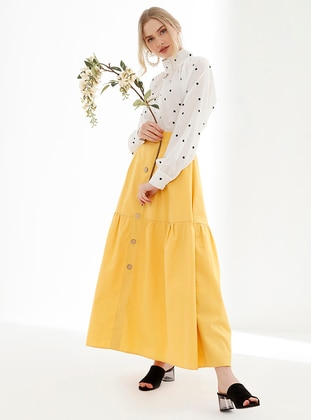 Yellow - Fully Lined - Viscose - Skirt