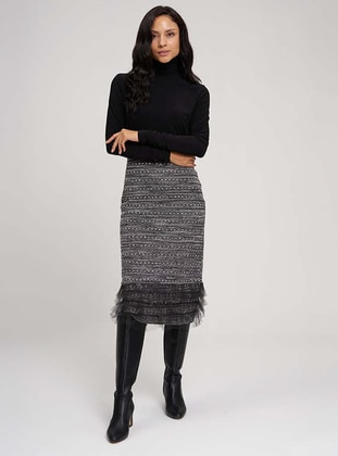 Black - Unlined -  Metal Thread -  - Skirt