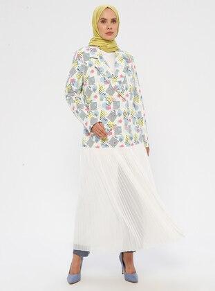White - Gray - Multi - Fully Lined - Shawl Collar - Jacket