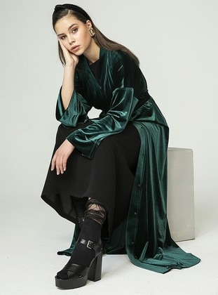 Emerald - Unlined - V neck Collar - Abaya